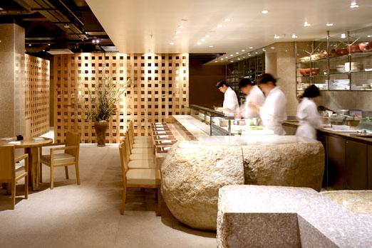 Open-plan food preparation in Zuma, Knightsbridge