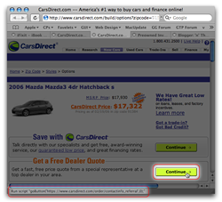 Picture of Cars Direct dot com website, highlighting its stupid Javascript link