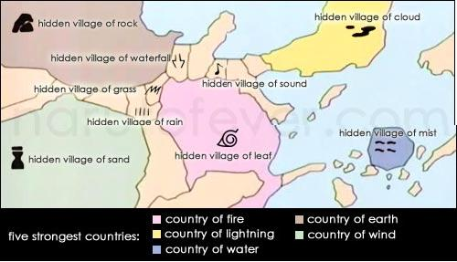 Naruto Map. The World As We Know It Is Divided Into Five Major Countries Or  Powers And Several Small Ones. In Each Of These Counties, There Is A Hidden  ...