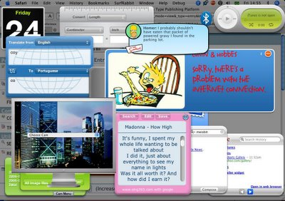 Minhas Dashboard Widgets no Mac OS X Tiger