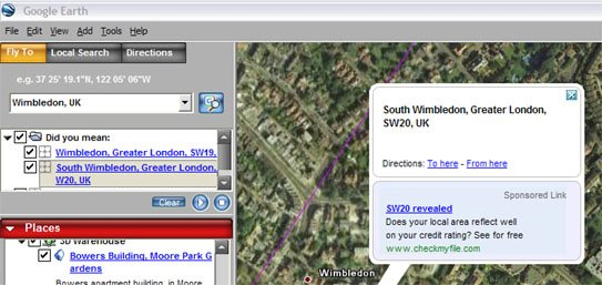 GEarthSpons Google AdWords on Google Earth