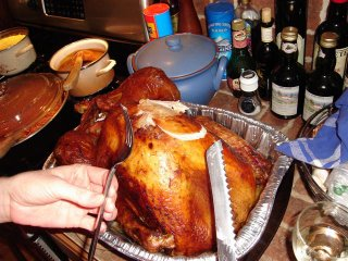Cutting of the Thanksgiving turkey
