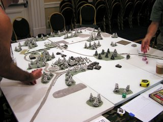A beautiful set up for some winter action in a Flames of War game.