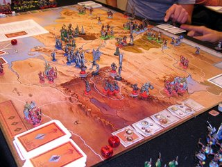 This is a close-up of the fantastic War of the Ring game I saw being played. Those plastic miniatures don't come that way!
