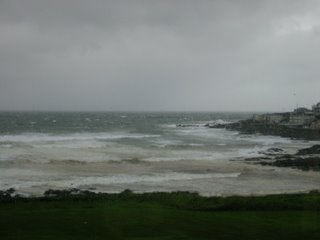 The rough sea at Portstewart - taken inside - you can see the rain on the window