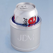 personalized silver beer can holder to keep beer cold