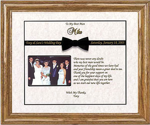 photo frame containing a poem from the groom to the best man