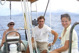 Jenny, Nick and Ellen on way back to Prickly Bay<