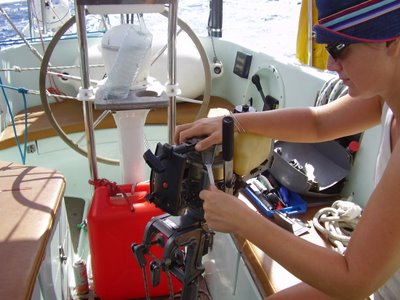 Outboard repairs on passage