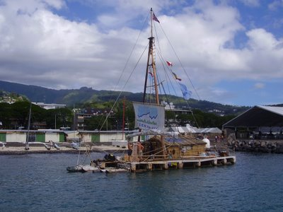 Tangaroa, Kon-Tiki replica, eventually spied in Papeete