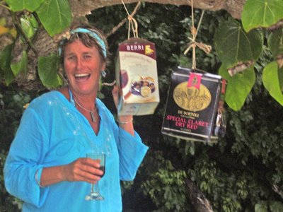 Emily with pot-luck wine tree