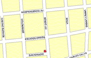 El asterisco representa al Café Margot, sito en Boedo y San Ignacio