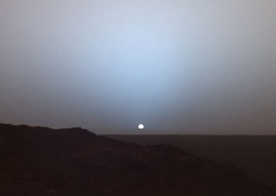 NASA's Mars Exploration Rover 'Spirit' captured this image of a martian sunset on May 19, 2005