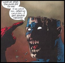 Zombie CAPTAIN AMERICA loses his head courtesy of MAGNETO: As seen in MARVEL ZOMBIES #1!