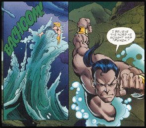 SUB-MARINER exercises his superior strength in his original showdown with AQUAMAN; in the pages of MARVEL VERSUS DC #2!