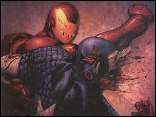 IRON MAN pummels CAPTAIN AMERICA into submission, having taken a beating of his own: Seen in CIVIL WAR #3!