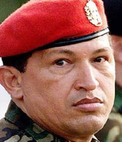 Hugo Chavez with red beret
