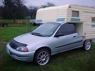 Retrofitted Geo Metro with camper unit
