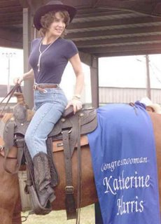 Katherine Harris with perky breasts on a horse