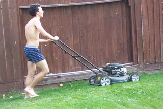 Mowing lawn during Ozone Action Day