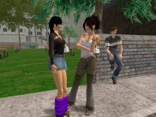 Shull as 'Candy' flirts with another woman as her dejected ex-boyfriend 'Rod' sulks in Second Life