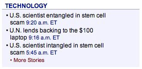 As you can see, the story sent at 5:45 a.m. has the headline U.S. scientist intangled in stem cell scam. A few hours later, the AP remembered how to spell and sent the story again at 9:15 a.m. with the corrected headline, U.S. scientist entangled in stem cell scam.