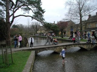 footbridge over the Windrush, Bourton village green