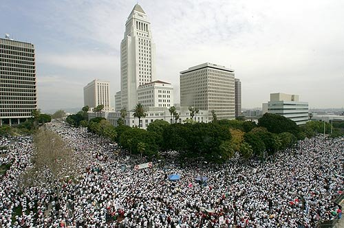 Click here to see the Los Angeles Times picture gallery of the weekend's protest rally