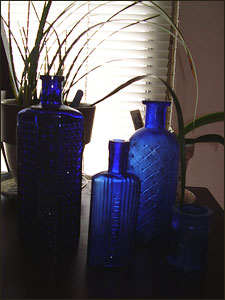 antique blue poison bottles
