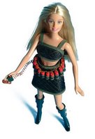 barbie shown wearing Night Commando beachwear with optional explosives belt