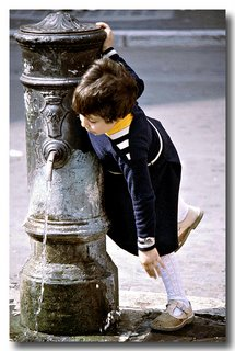 Girl Drinks at Fountain, Rome 1978