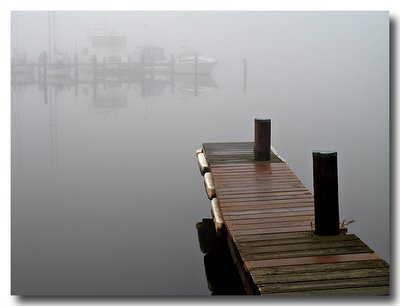 Severn River Pier in Fog - Canon A620 Review