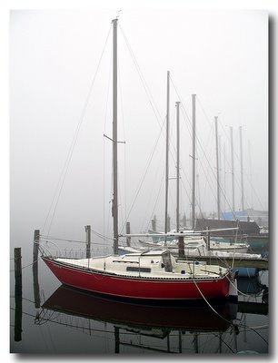 Red Boat in Fog - Canon A620 Review