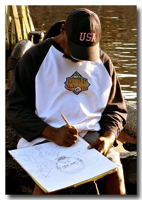 Man Sketching - Inner Harbor, Baltimore