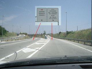 No a Girona, sortida de la dreta