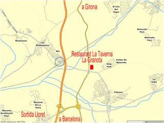 Mapa de la zona, en vermell La Taverna