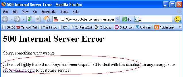 7 monkeys youtube error message