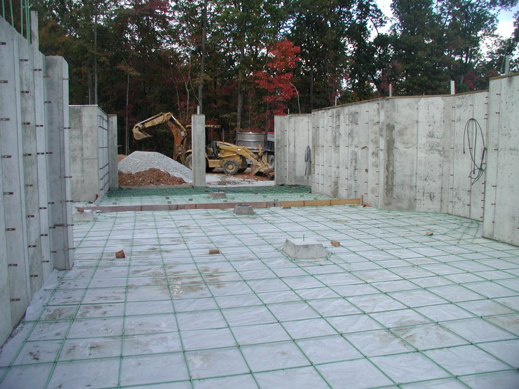 Building a timberframe home from scratch pouring the for Building a house on a slab