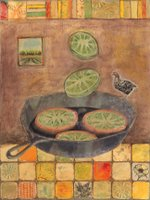 Click to see larger view of Fried Green Tomatoes with a Side of Black Chicken by Mara Hincher