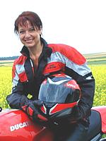 Landrätin Dr. Gabriele Pauli mit ihrer Ducati
