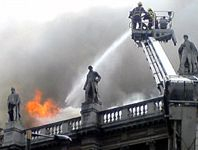 Firemen tackling the blaze - photo taken by Aaron Clark (2006)