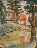 Adolf Hitler - Red Roofed Cottage by a Lake in a Woodland Setting