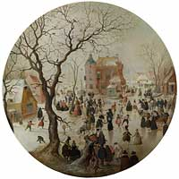 Avercamp - A Winter Scene with Skaters near a Castle (c1608-9)
