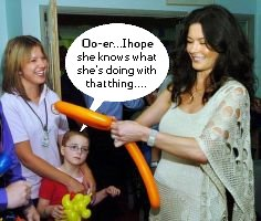 Little girl: Oo-er...I hope she knows what she's doing with that thing....