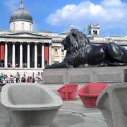 Tom Dixon's expanded polystyrene armchairs in Trafalgar Square