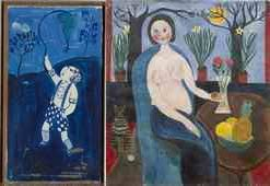 Dora Holzhandler - two paintings: Blue Boy (1971) and a semi nude