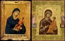 Left the Madonna and Child allegedly by Duccio (ca.1300), right a 20th c. Russian icon in the traditional style.