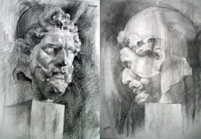 Electra - Two Sketches of a Sculpted Head