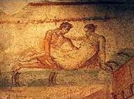 Erotic Fresco in Pompeii Brothel (c.AD70)