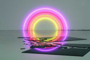 Lori Hersberger - Sunset 184 (2006) wall installation with neon